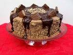 Tarta de chocolate, caramelo y frutos secos