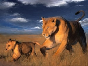 Postal: Óleo de una leona con su cría