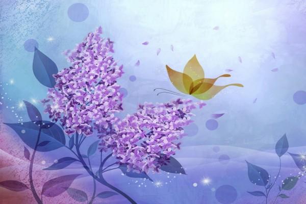 Mariposa y lilas