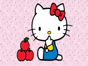 Hello Kitty con tres manzanas