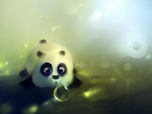 Postal: Pequeño panda