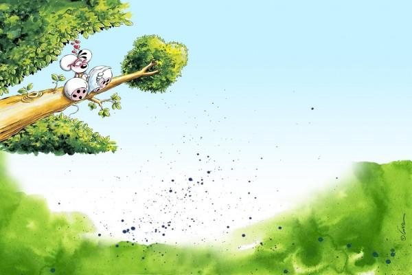 Diddl, en la rama de un árbol