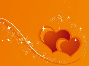 Postal: Corazones naranjas