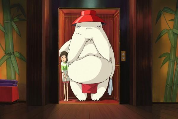Chihiro con un cliente de la casa de baños
