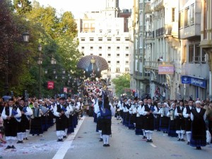 Postal: Banda de Gaitas (Ciudad de Oviedo)