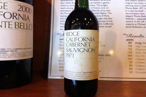 El histórico 1971 Monte Bello Cabernet Sauvignon de Ridge Vineyard