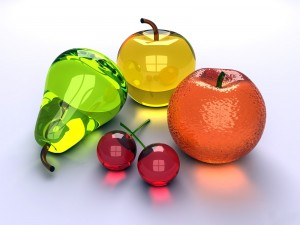Postal: Frutas de cristal