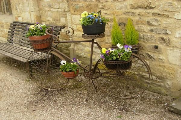 Bicicleta decorativa con plantas