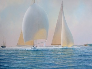 Postal: Pintura de barcos a vela