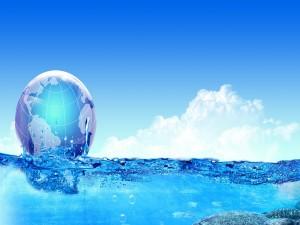 Postal: Globo terrestre flotando en agua