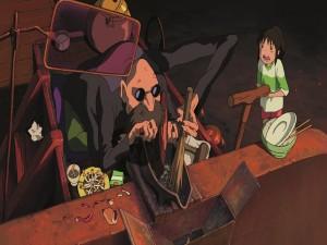 Chihiro y Kamaji en la sala de calderas