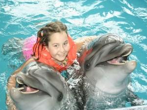 Postal: Nadando con delfines