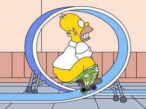 Homer Simpson haciendo acrobacias