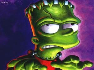 Bart Simpson caracterizado de Frankenstein