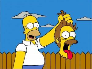 Postal: Homer Simpson con la cabeza de Ned Flanders