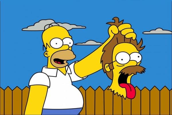 Homer Simpson con la cabeza de Ned Flanders