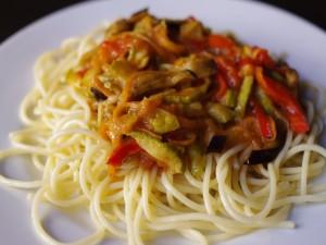 Postal: Espaguetti con verduras