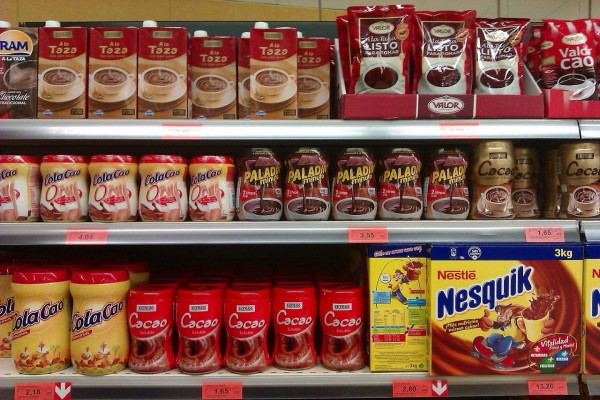 Productos de cacao y chocolate en polvo