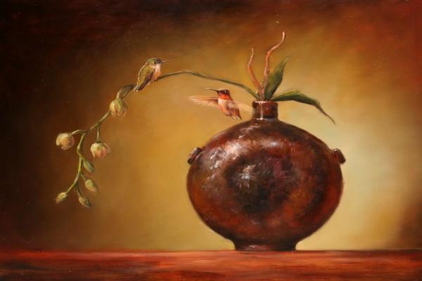 Pintura al óleo, dos colibrís y un jarrón
