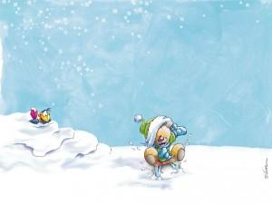 Postal: Diddl en la nieve