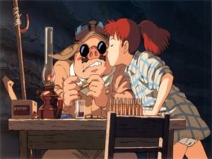 Fio Piccolo besando a Porco Rosso