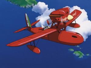 Postal: Porco Rosso en el aire