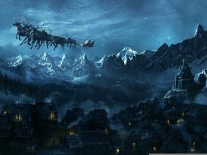 Postal: El trineo de Santa