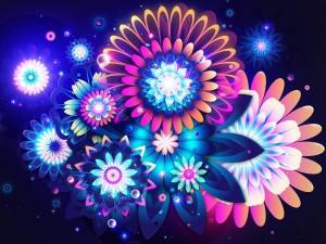 Postal: Grandes flores de colores brillantes