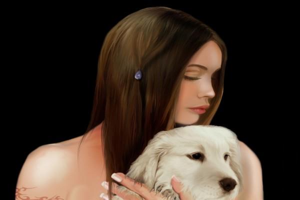 Chica con su perro