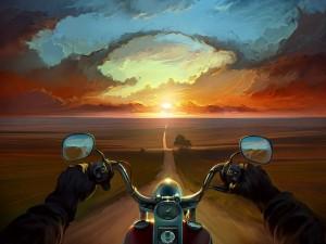 Postal: En moto por un paisaje solitario