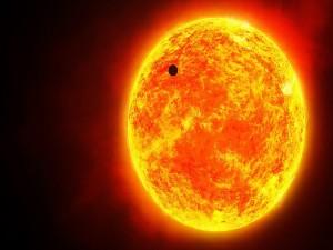 Postal: Planeta cruzando el Sol