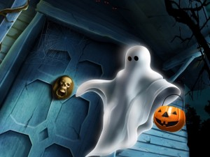 Postal: Fantasma en Halloween