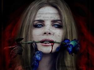 Postal: Mordiendo una rosa azul