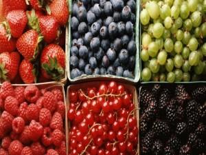 Frutos rojos y uvas