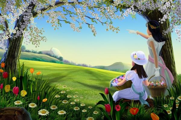Dos hermanas en un bello campo