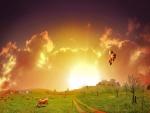 Vacas pastando y en el cielo globos aerostáticos