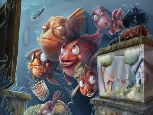 Pecera con humanos en un mundo marino
