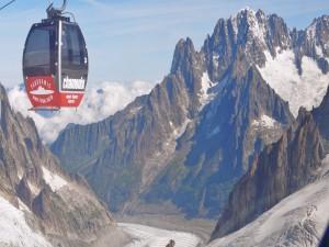 Postal: Teleférico sobre el Mont Blanc