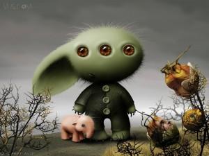 Postal: Conejo extraterrestre