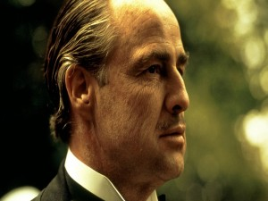 """Postal: Marlon Brando en el papel de """"El Padrino"""""""