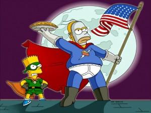 Postal: Homer y Bart, los vengadores