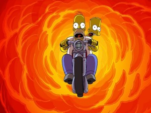 Postal: Homer y Bart en moto