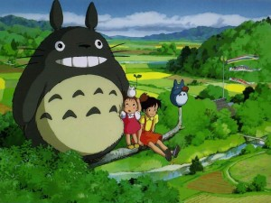 Postal: Totoro, sentados en una rama
