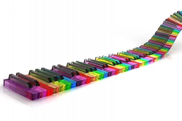 Teclas de piano coloridas