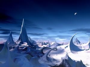Paisaje helado de otro planeta