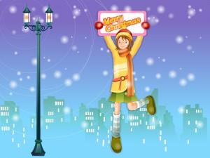 """Postal: Chica con un cartel de """"feliz navidad"""""""