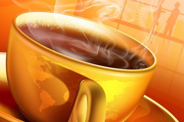 Humeante taza de té