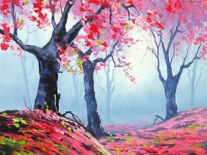 Postal: Pintura de árboles