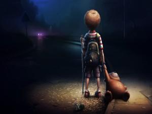 Niño escapando de casa
