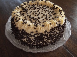 Postal: Tarta de crema con pepitas de chocolate